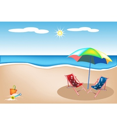 Beach Chairs with Umbrella and Toy vector image vector image