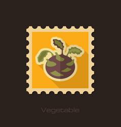 kohlrabi flat stamp vegetable vector image vector image