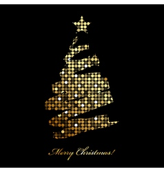 Merry Christmas card with christmas tree from vector image vector image