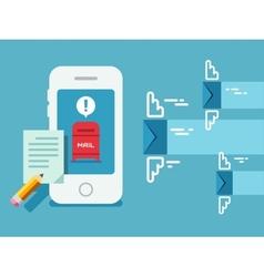 Newsletter Notification on Smart Phone Screen Flat vector image