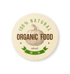 organic food round paper emblem vector image vector image