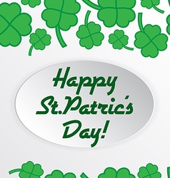 St patric day pattern with green clover leafs vector