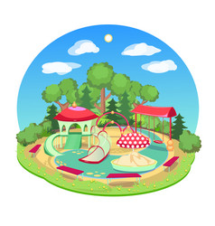 childrens playground with a swing slide vector image