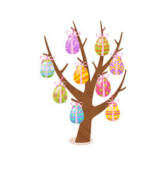 eggs tree easter traditional element religious vector image