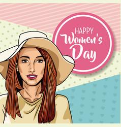 happy womens day pop art vector image vector image