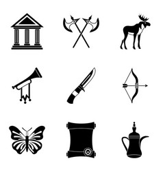 museum business icons set simple style vector image vector image