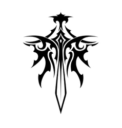 Winged sharp sword tattoo vector image vector image