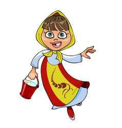 cartoon girl in a sundress and headscarf running vector image vector image