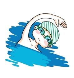 Swim the crawl boy color drawing vector image