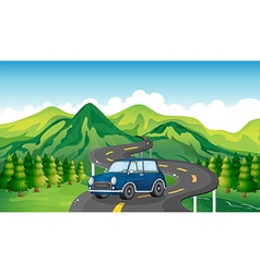 A blue car and the winding road vector