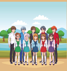 Anime manga group vector