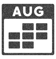 August Calendar Grid Grainy Texture Icon vector