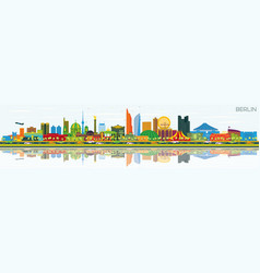 Berlin germany skyline with gray buildings blue vector