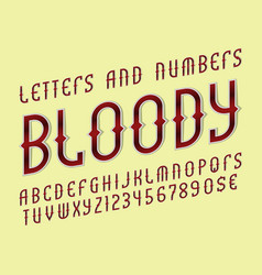 Bloody red alphabet with numbers and currency vector
