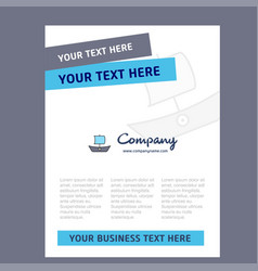 boat title page design for company profile annual vector image