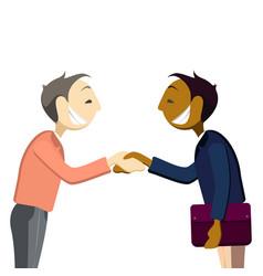 Business mans handshake greetings gesture stick vector