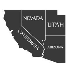 California - nevada - utah - arizona map labelled vector