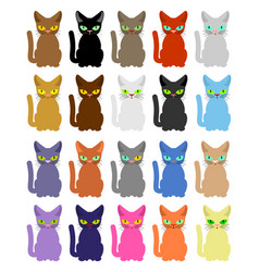 cat set many colored cats vector image