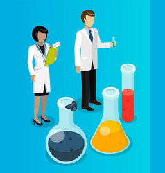 chemists woman and man with test tubes large vector image
