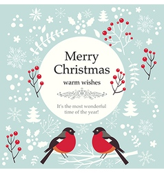 christmas with birds and text vector image