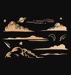 Clouds and sky gold space doodle sticker vector