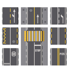 Collection of roads highway top view surfaces vector