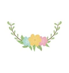 colorful decorative half crown branch floral vector image