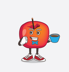 crab apple cartoon mascot character with a cup vector image