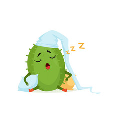 Cute cactus in white hat sleeping and snoring vector