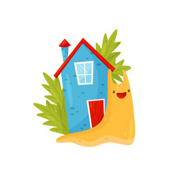 Cute snail with colorful shell house on its back vector
