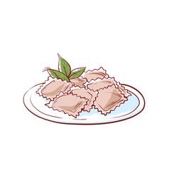delicious ravioli isolated icon vector image