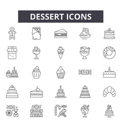 dessert line icons signs set outline vector image