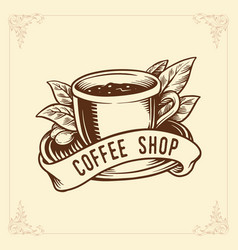 different types cups with hot coffee shop vector image