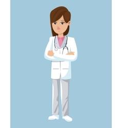 doctor female brunette stethoscope uniform vector image