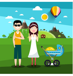 family on field man and woman with bacarriage vector image