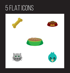 flat icon animal set of sparrow osseous rabbit vector image