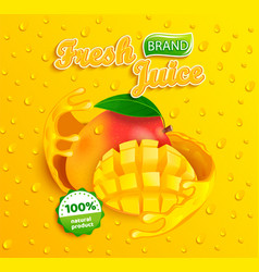 Fresh mango juice label vector