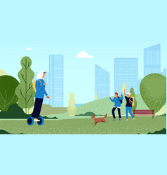 Friends greeting group teens meet in park guys vector