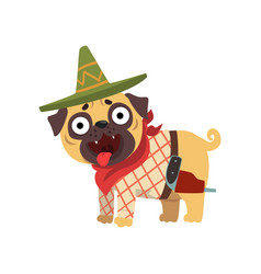 Funny pug dog character wearing mexican sombrero vector