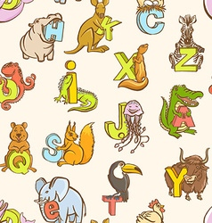 funny zoo animals kids alphabet seamless pattern vector image
