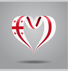 Georgian flag heart-shaped wavy ribbon vector