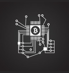 Graphical gpu processor bitcoin on black vector