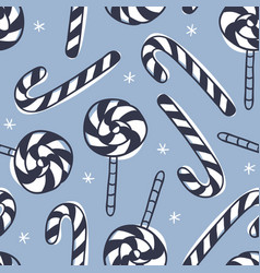 hand drawn christmas seamless pattern with candy vector image
