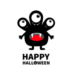 Happy halloween monster black silhouette three vector