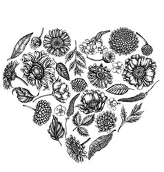 Heart floral design with black and white poppy vector