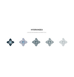 Hydrangea icon in different style two colored vector