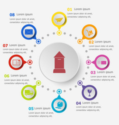Infographic template with post icons vector