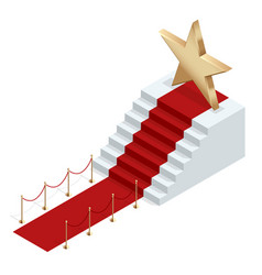 Isometric red event carpet isolated on a white vector