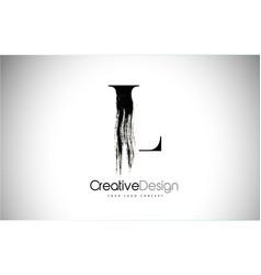 l brush stroke letter logo design black paint vector image
