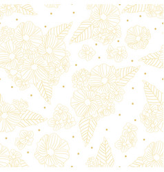 luxury doodle golden line flower seamless pattern vector image
